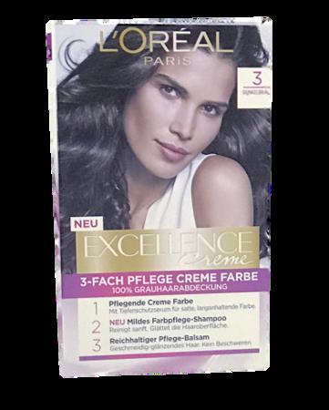 Loreal Paris Excellence Creme Dunkelbraun farba do włosów ciemny brąz nr 3